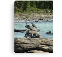 Inukshuk at Athabasca Falls Canvas Print