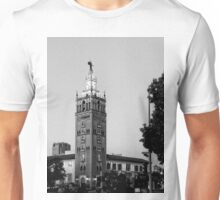 Giralda Tower, Country Club Plaza, Kansas City, Black and White Unisex T-Shirt