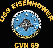 USS Dwight D. Eisenhower (CVN-69) Crest for Dark Colors by Spacestuffplus