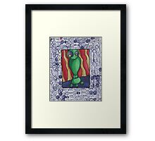 Confused Green Bot Framed Print