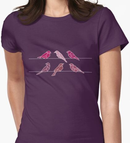 birds on a wire Womens Fitted T-Shirt