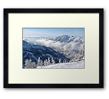 Winter mountains view from summit of Snowbird, Utah Framed Print