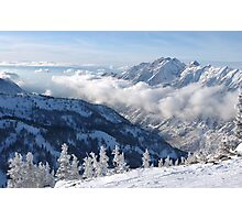 Winter mountains view from summit of Snowbird, Utah Photographic Print