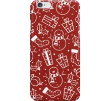 Red & White Festive Icons iPhone Case/Skin