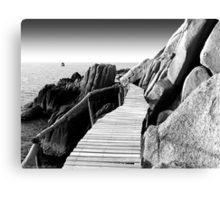 Staggering Wooden Path in Black and White Canvas Print