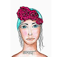 Girl with roses Photographic Print