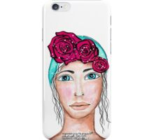 Girl with roses iPhone Case/Skin