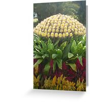 Flowers happily dancing around beautiful yellow mushroom Greeting Card