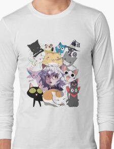 Anime cats pitou luna yoruichi espeon sakamoto kamineko chi poyo madara happy blair kirara kyubey kuroneko Long Sleeve T-Shirt