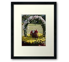Moo Moo having fun under a purple flower horseshoe Framed Print