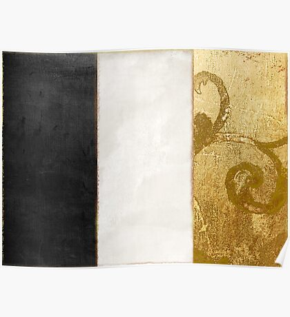 Fashion Gold and Black Flag France Poster