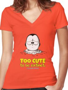 Too Cute To Be Extinct v.1 Women's Fitted V-Neck T-Shirt