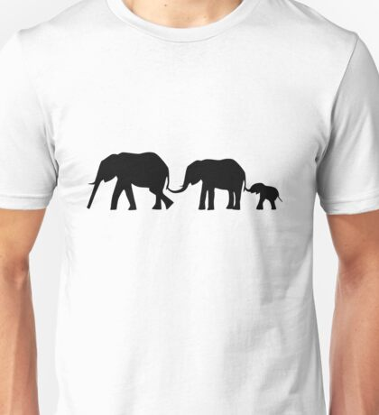 Silhouettes of 3 Elephants Holding Tails Unisex T-Shirt