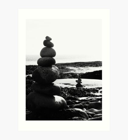 Stacked Stones Sculpture on the Sand 03 Art Print
