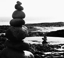 Stacked Stones Sculpture on the Sand 03 by Jamie Evans