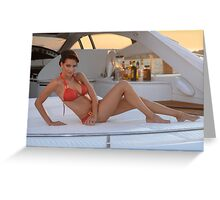 Brazilian model sitting pretty at the deck of 62 ft. motor boat. Greeting Card