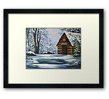 Cabin in Winter Framed Print