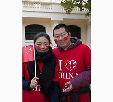 A chinese couple with painted faces and flags wait for President Xi Unisex T-Shirt