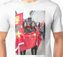 Two ladies wrapped in a Chinese flag Unisex T-Shirt