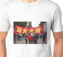 ladies take selfies in front of the Chinese banners in the mall during the state visit Unisex T-Shirt