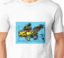 Glitchy Goldfish, yellow blue and black Unisex T-Shirt