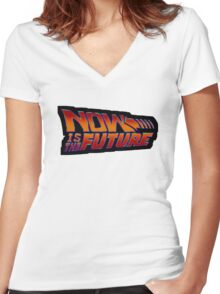 NOW IS THE FUTURE - Logo 21/Oct/2015 Women's Fitted V-Neck T-Shirt