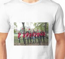 Chinese ladies pose with their legs on a railing in the mall  Unisex T-Shirt