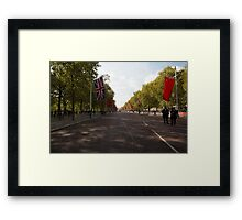 Chinese flags and the union jack hang in the Mall in London Framed Print