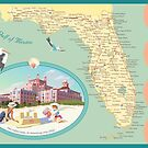 Florida Map with Don CeSar Hotel by contourcreative