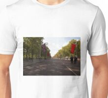 Chinese flags and the union jack hang in the Mall in London Unisex T-Shirt
