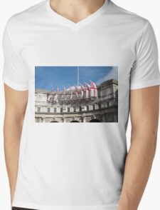 Flags fly on Admiralty Arch Mens V-Neck T-Shirt