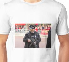 Armed Policeman on duty in the Mall Unisex T-Shirt