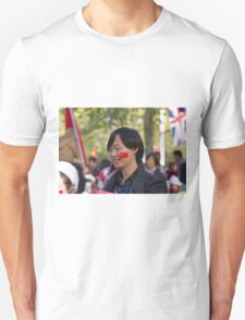 Chinese man with a flag sticker on his face in the Mall Unisex T-Shirt