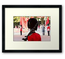 Guardsman on duty in the mall Framed Print