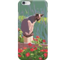 Red geraniums and cat iPhone Case/Skin