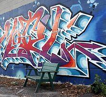 Graffiti and Bench by PPPhotoArt