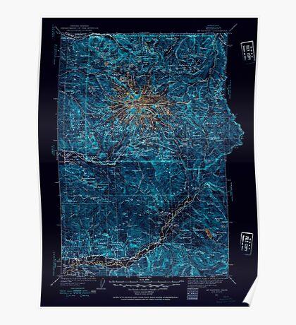 USGS Topo Map Washington State WA Mt Rainier 242667 1924 125000 Inverted Poster