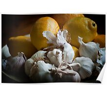 Lemons and Garlic Still Life Poster