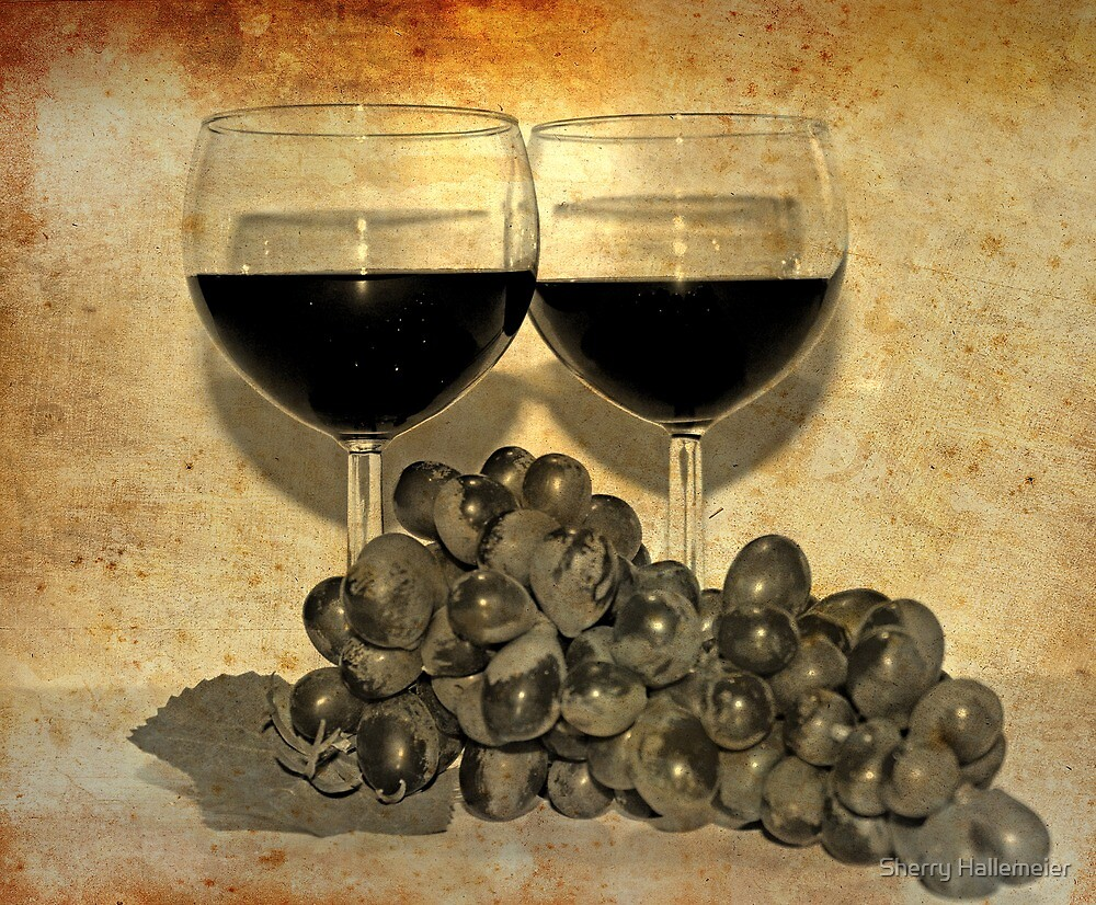 Wine for Two with Grapes 2nd Rendition by Sherry Hallemeier