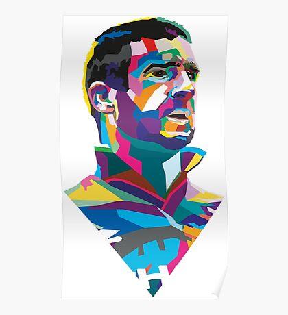 Eric Cantona Colour Portrait Poster