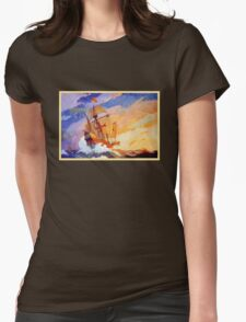 Ships of Christopher Columbus at sea Vintage Womens Fitted T-Shirt