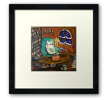 Snowy Owl (would rather be reading...) Framed Print