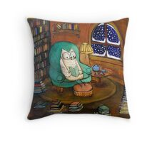 Snowy Owl (would rather be reading...) Throw Pillow