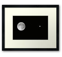Full Moon, Jupiter and it's Moons Framed Print