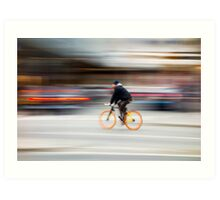 Cyclist in motion Art Print