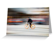 Cyclist in motion Greeting Card