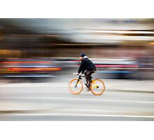 Cyclist in motion Photographic Print