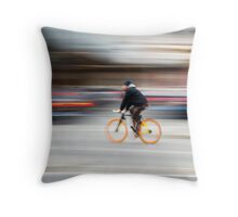 Cyclist in motion Throw Pillow