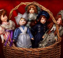 Toy - Dolls - A basket of Victorian dolls  by Mike  Savad