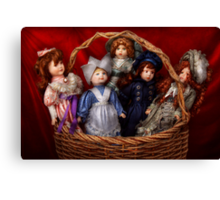 Toy - Dolls - A basket of Victorian dolls  Canvas Print